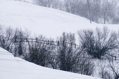 与落的雪从喀尔巴阡山脉的地区,乌克兰,欧洲的一个多雪的冬天场面 免版税库存照片