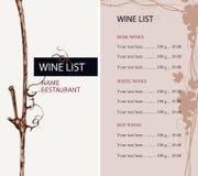 与葡萄和价格表分支的酒类一览表  皇族释放例证