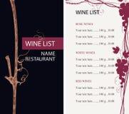 与葡萄和价格表分支的酒类一览表  库存例证