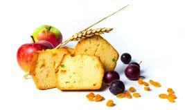 与葡萄干、葡萄和苹果切片的果子面包 图库摄影