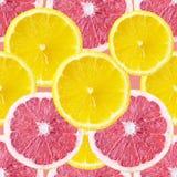 与葡萄柚和柠檬切片的无缝的背景 免版税库存图片