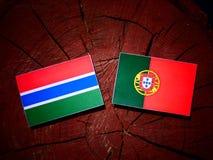 与葡萄牙旗子的冈比亚旗子在被隔绝的树桩 向量例证
