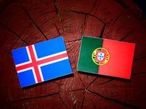 与葡萄牙旗子的冰岛旗子在被隔绝的树桩 皇族释放例证