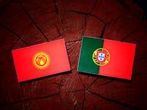 与葡萄牙旗子的吉尔吉斯斯坦旗子在被隔绝的树桩 库存例证