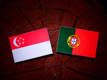 与葡萄牙旗子的新加坡旗子在被隔绝的树桩 库存例证
