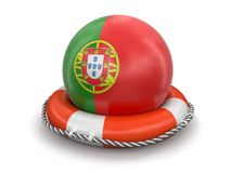 与葡萄牙旗子的球在lifebuoy 库存照片