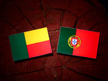 与葡萄牙旗子的贝宁旗子在被隔绝的树桩 库存例证