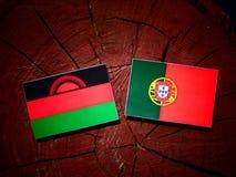 与葡萄牙旗子的马拉维旗子在被隔绝的树桩 库存例证