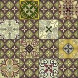 与葡萄牙瓦片的无缝的样式在塔拉韦拉样式 Azulejo,摩洛哥人,墨西哥装饰品 库存照片