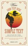 与葡萄的酒标签在减速火箭的样式的 库存图片