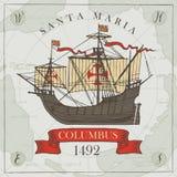 与葡萄酒哥伦布航行游艇的横幅  向量例证