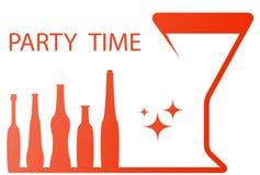 与葡萄酒杯和酒精瓶的党标志 库存照片