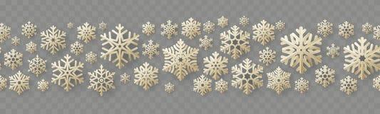 与葡萄酒纸雪花的圣诞节和新年无缝的边界 10 eps 库存例证