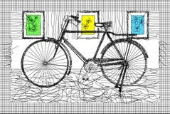 与葡萄酒自行车样式的黑滤网 免版税库存图片