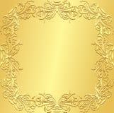 与葡萄酒花卉patte的豪华金黄背景 库存图片