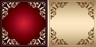 与葡萄酒装饰的红色和金框架 免版税库存图片