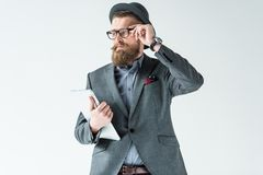 与葡萄酒髭和胡子的商人 免版税库存照片