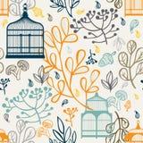 与葡萄酒鸟笼的秋天无缝的样式 叶子元素设计  免版税库存照片