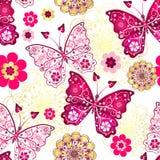 与葡萄酒蝴蝶的无缝的样式 皇族释放例证
