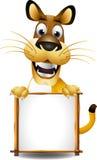 与董事会的滑稽的狗动画片 免版税库存图片