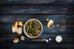 与葱酸性稀奶油和面包油炸马铃薯片的新鲜的蘑菇汤 在与利器的白色碗dishe 上色木 图库摄影