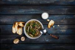 与葱酸性稀奶油和面包油炸马铃薯片的新鲜的蘑菇汤 在白色碗dishe 色的木背景,匙子 免版税库存图片