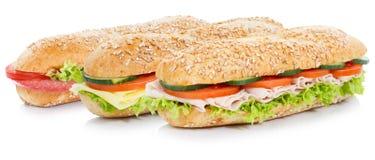 与蒜味咸腊肠火腿和乳酪整个五谷五谷的次级三明治请求 免版税库存图片