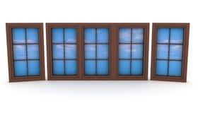 与蓝天和云彩的闭合的塑料窗口 免版税库存照片