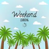 与蓝天和棕榈树的场面与文本`过周末装货` 库存例证