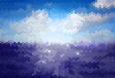 与蓝天和海的迷离背景 库存图片