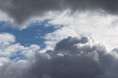 与蓝天的滚滚向前的灰色白色云彩 多暴风雨的天气 库存图片