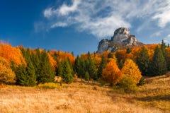与蓝天的秋天风景与吹 免版税库存照片