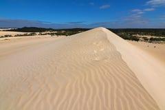 与蓝天的高沙子小山土坎在一点撒哈拉大沙漠白色沙子d 图库摄影