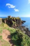 与蓝天Stonehaven,阿伯丁的Dunnottar城堡 免版税图库摄影
