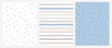 与蓝星、蓝色和米黄条纹在白色背景和白色小点的简单的几何传染媒介样式在一种蓝色布局 库存例证