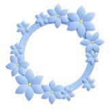 与蓝纸的装饰蓝色papercut边界开花 3D pape 免版税库存照片