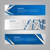 与蓝色三角和条纹的汇集抽象水平的横幅设计 免版税库存图片