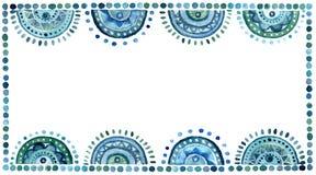 与蓝色东方圈子和小点的水彩小插图 免版税库存图片