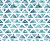 与蓝色东方装饰品的水彩无缝的纹理 免版税库存图片