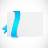 与蓝色丝带的横幅 免版税图库摄影