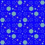 与蓝色元素的摘要宇宙无缝的样式 库存例证