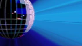 与蓝色光线的转动的迪斯科球 向量例证