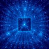 与蓝色光芒的蓝色抽象正方形 免版税库存图片