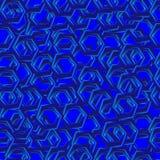 与蓝色六角形的抽象无缝的样式 免版税库存图片