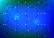 与蓝色六角形纹理的背景 库存照片