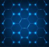 与蓝色六角形纹理的背景 免版税图库摄影