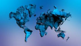 与蓝色发烟性纹理的世界地图在被遮蔽的背景 库存例证