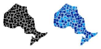 与蓝色变形的被加点的安大略省地图 库存例证