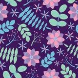与蓝色叶子无缝的样式的桃红色和紫色花在黑暗的紫色背景传染媒介为织品衣裳背景设计 库存图片