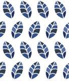 与蓝色叶子的无缝的花卉样式 向量例证